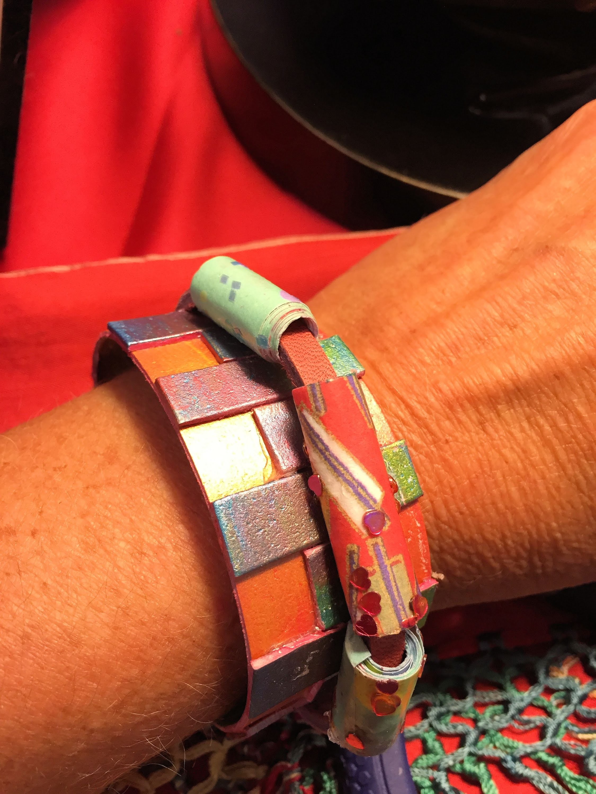 Paper and leather bracelet with paper beads