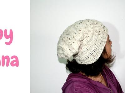 Tunisian crochet slouchy beret