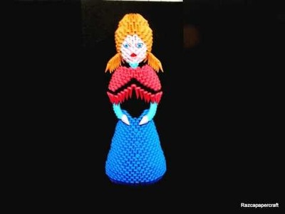3D origami Frozen  characters . ( 3d origami Elsa , Anna and Olaf)