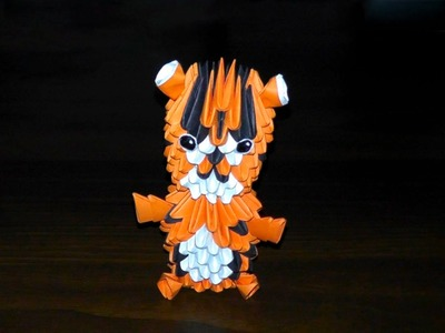 3D origami tiger (baby tiger) assembly diagram (Tutorial, instructions)