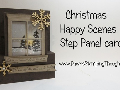 Christmas Step Panel card featuring Happy Scenes & Hearth & Home Framelits from Stampin'Up!