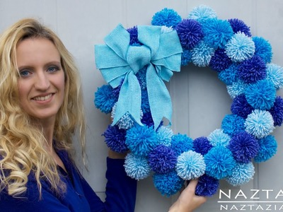 DIY Tutorial - How to Make Easy Simple Beginner Yarn Pom Pom Wreath - Pompom Pompoms