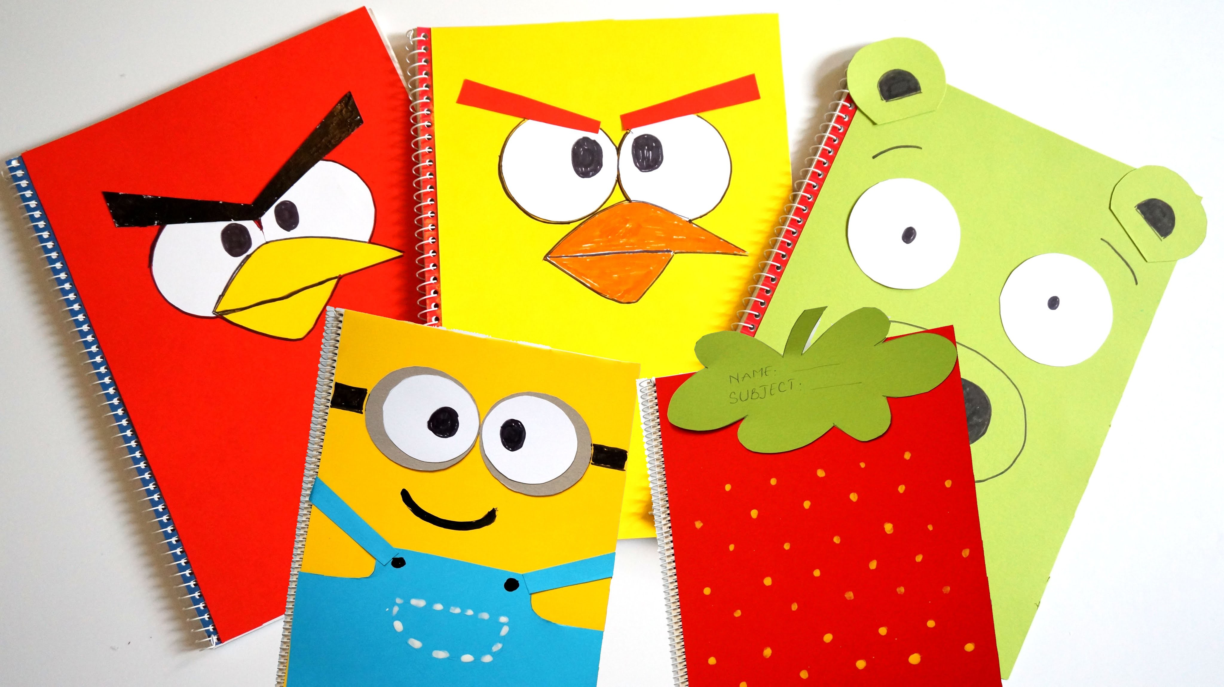 FIVE Notebook Covers Compilation DIY Minions & Strawberry & Angry Birds