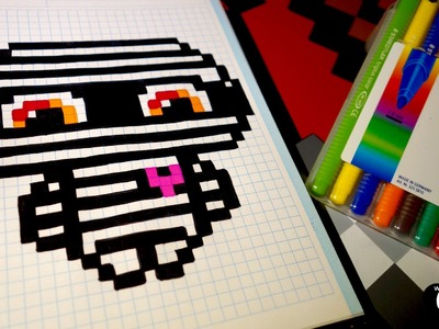 Handmade Pixel Art - How To Draw a Kawaii Mummy by Garbi KW #Halloween
