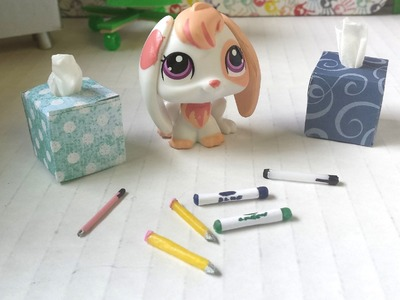 How to Make School Supplies - Tissue Box, Pens, Pencils, & Markers: LPS Doll DIY