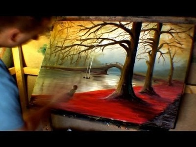 Jarduli Paintings - Under A Tree By The River - Oil Speedpainting Series
