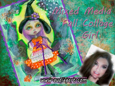 #LoveFallArt - Painting Tutorial ~  Mixed Media Collage Pastel Fall - Autumn Art Girl