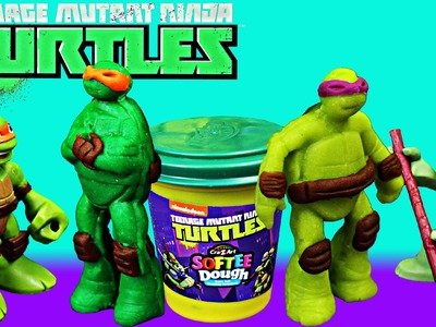 TMNT Play Doh and Ninja Turtles Softee Dough with Leonardo Toy DIY Review Clones of Mikey and Donnie
