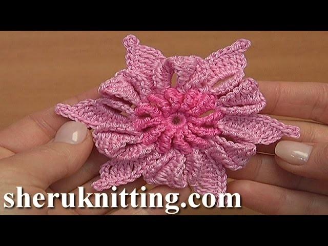 Crochet 3D Double Colored Folded Petal Flower Tutorial 18 Irish Lace