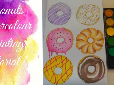 Donuts watercolour painting tutorial!
