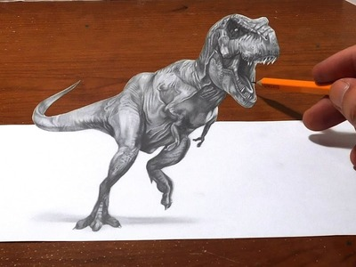 Drawing a T Rex - Anamorphic Optical Illusion - 3D Trick Art