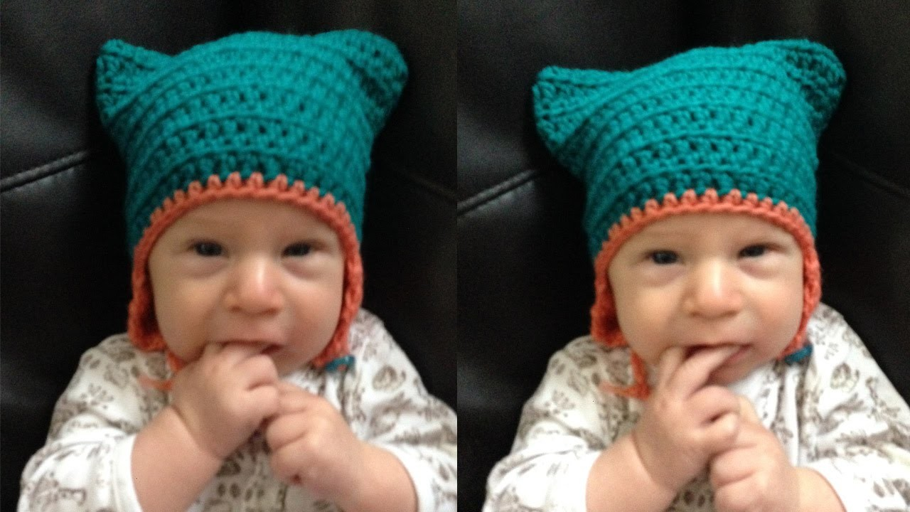 Ear Flap Kitty Hat For Babies