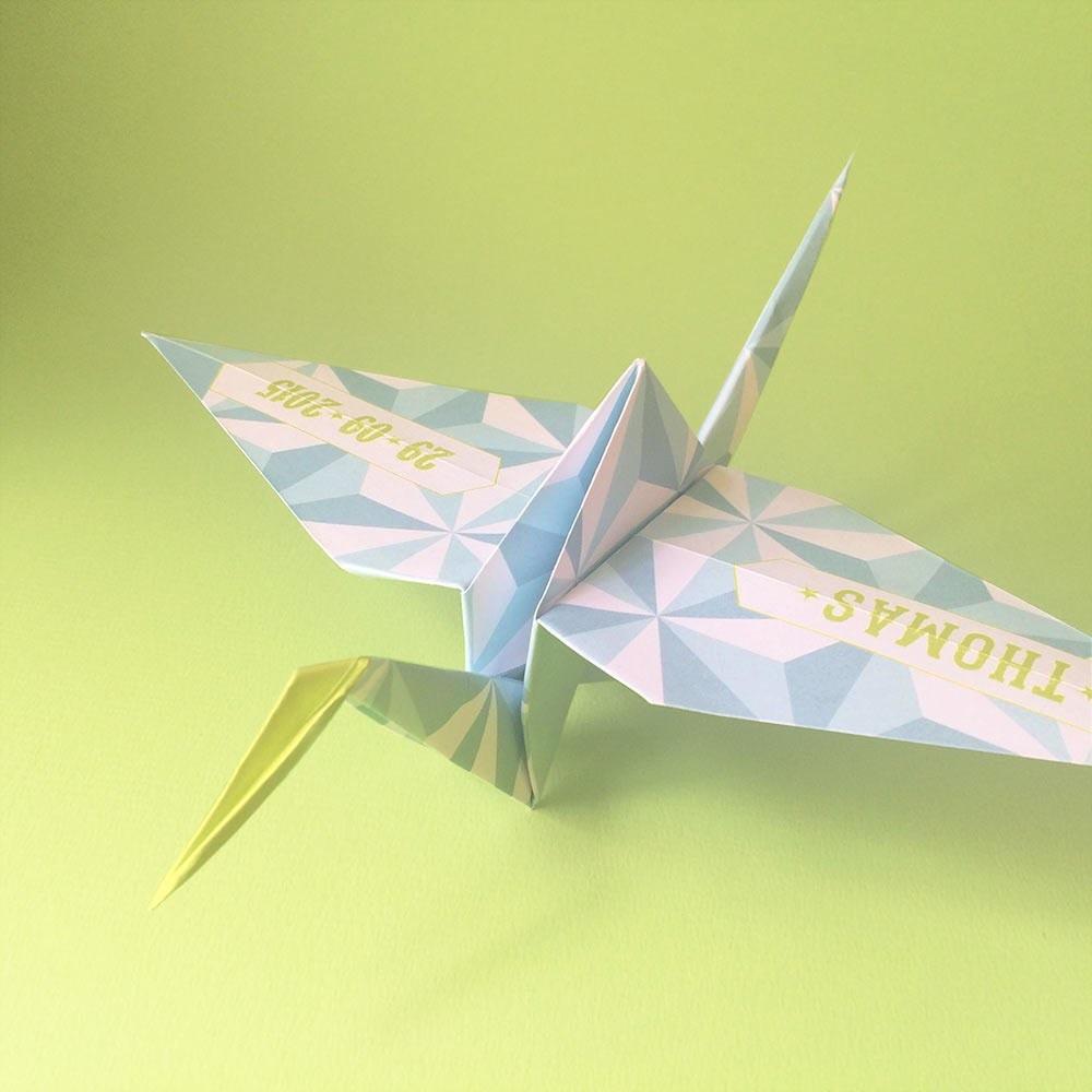 Origami crane babycard tutorial