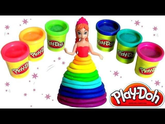 Play Doh Rainbow Ultimate Set Design-A-Dress Magiclip Princess Anna Disney Frozen Play Doh Arco Iris