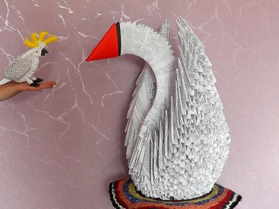 3D origami giant (big) swan tutorial variant 2