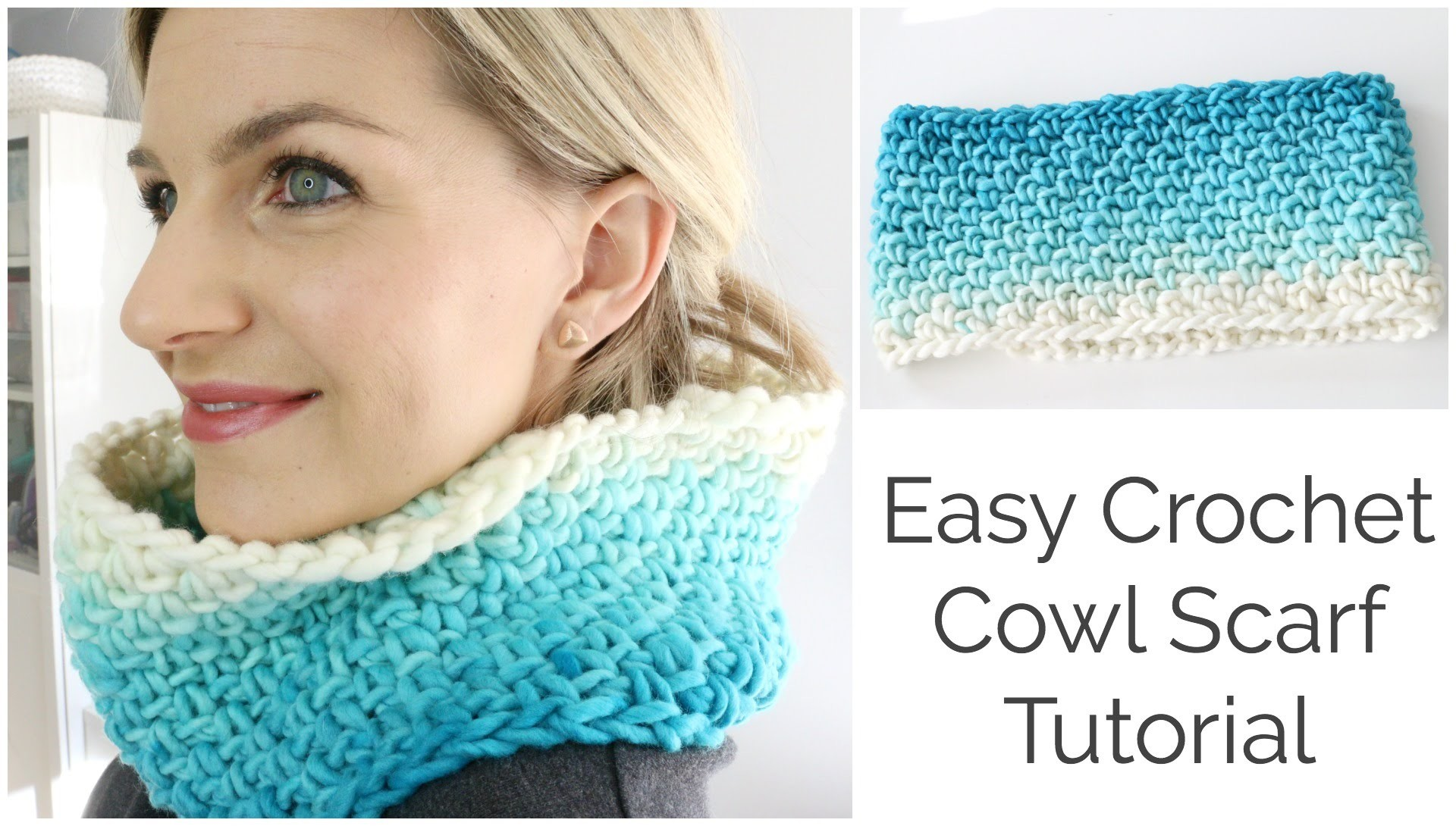 Easy Crochet Cowl Scarf Tutorial