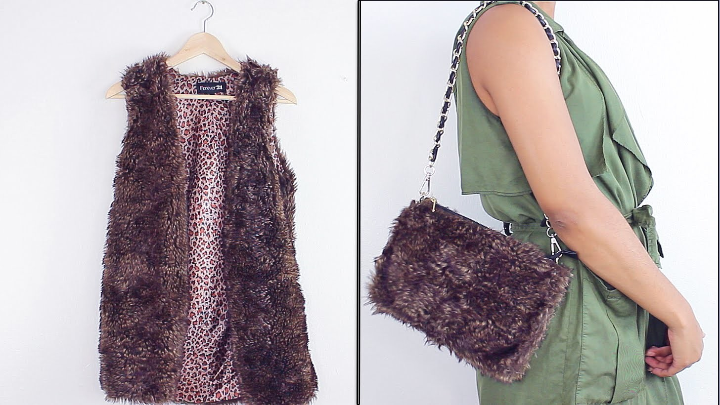 HOW TO: Faux Fur Vest Into A Bag.Clutch