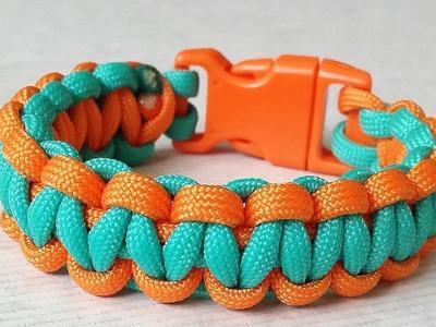 How to make Cobra Weave (Solomon Bar)two color paracord bracelet