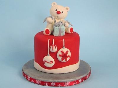 Teddy Bear Cake Topper Christmas  Cake
