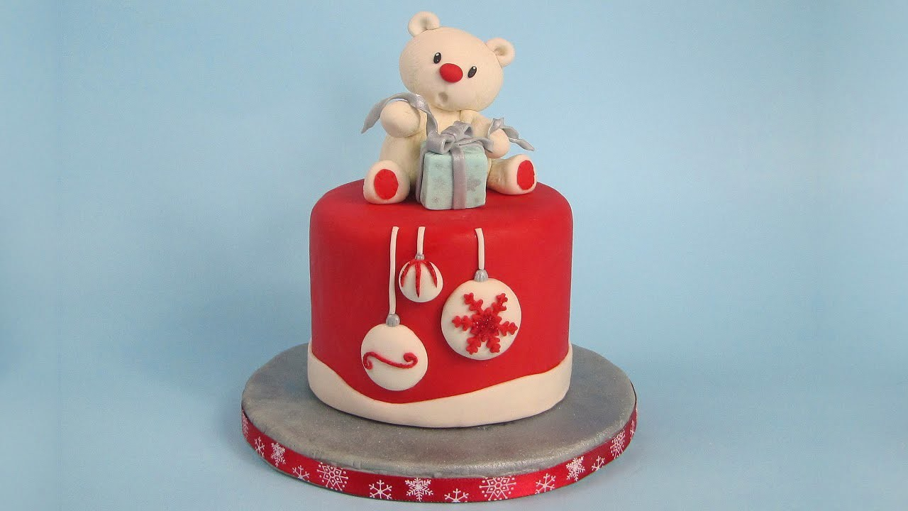 Teddy Bear Cake Topper Christmas  Cake