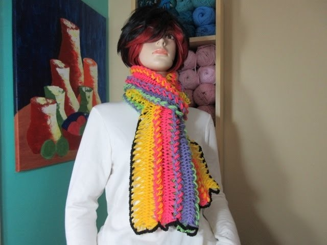 Crochet hairpin lace rainbow scarf. With Ruby Stedman