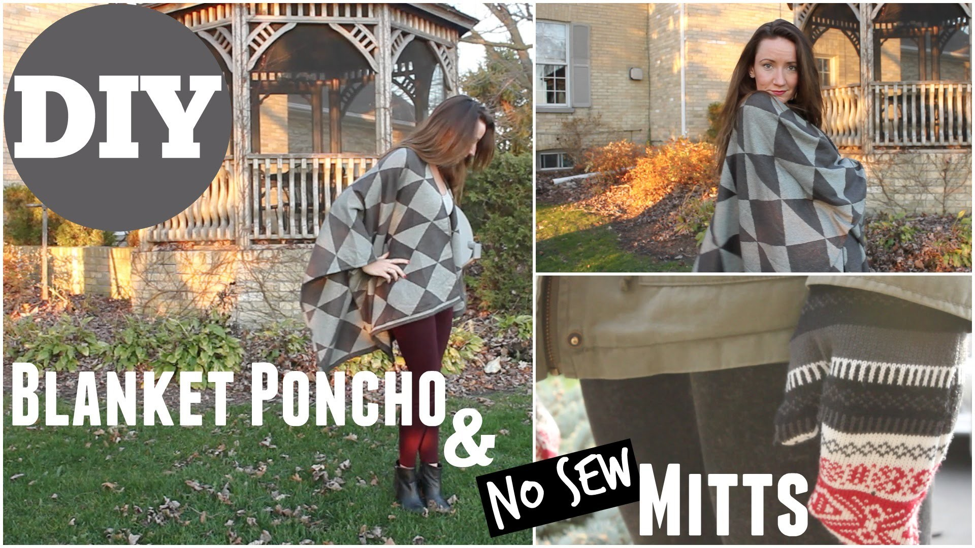 DIY Clothing - Blanket Poncho & NO Sew Mitts