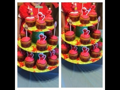 ELMO BIRTHDAY PARTY - CUPCAKE STAND - TUTORIAL