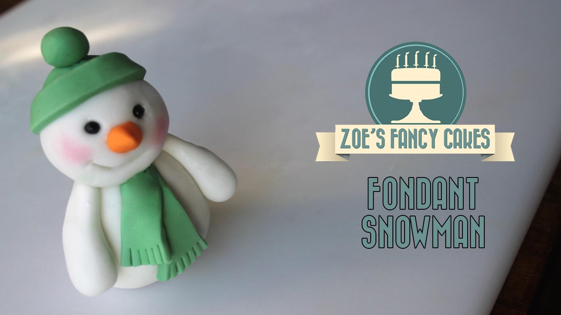 Fondant Christmas snowman cake topper  modelling paste How to make cake decorating tutorial