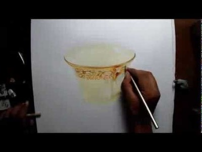 How to draw a gold rimmed cup - speed drawing - Prismacolor pencils