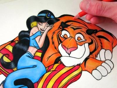 How to Draw Princess Jasmine and Rajah
