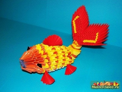 How to make 3d gold fish origami free tutorial