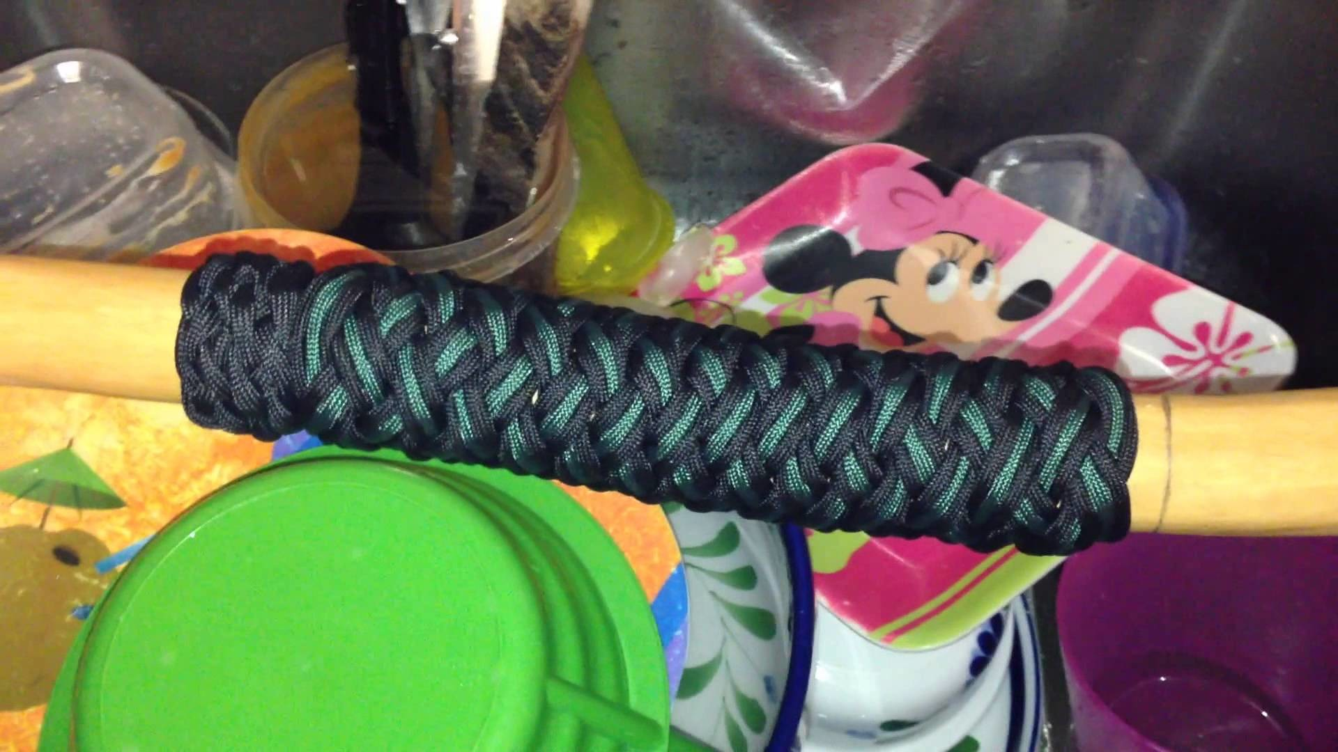 Paracordist how to boil paracord on turks head hiking staff handle