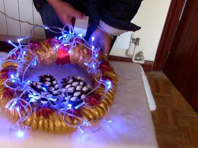CORONA NAVIDEÑA CON ILUMINACION - CHRISTMAS CROWD WITH LIGHTS