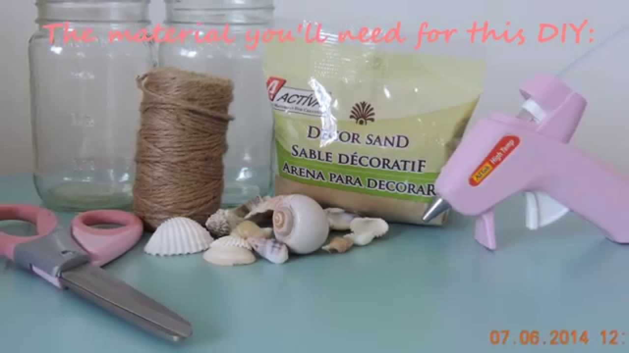 DIY beach themed mason jars *room decor.party accessories*