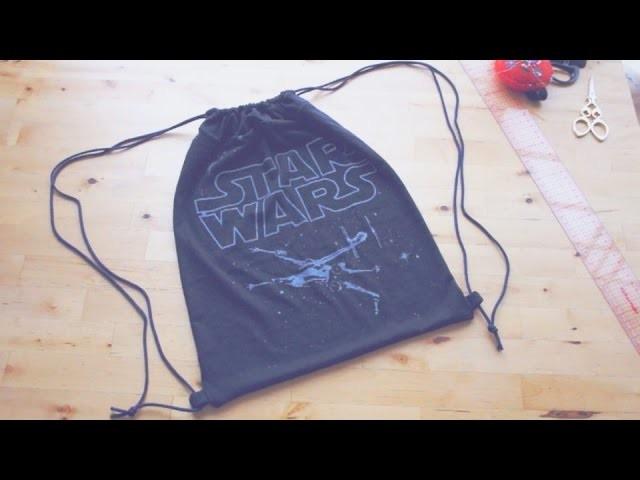 Sewing + Refashion DIY Drawstring Backpack. Gym Bag