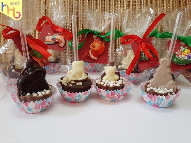 Christmas Chocolate spoon lollipops gifts tutorial with wrapping diy