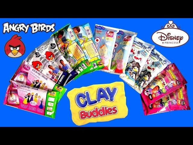 12 Clay Buddies Surprise Blind Bags Disney Princess Cinderella PeppaPig AngryBirds Play-Doh