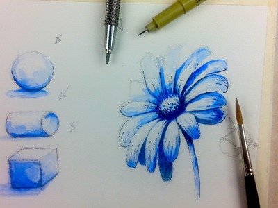 Beginner Watercolor Value Exercise | How to Paint Monochromatic Flowers