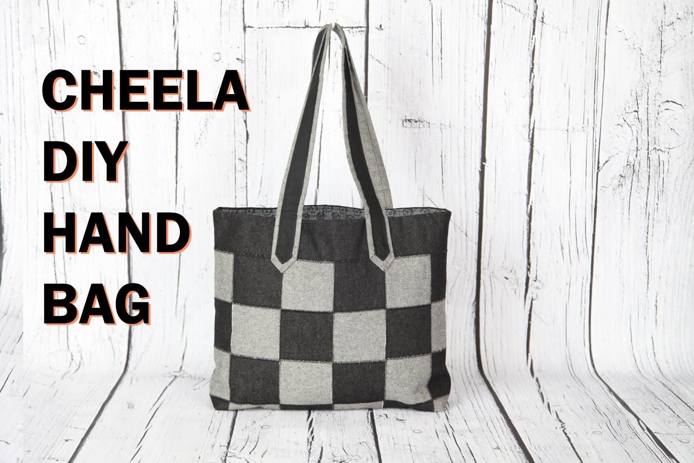 Cheela 4. flat patch work tote bag with zip pocket.DIY Bag Vol 22