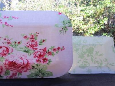 DIY Decoupage Fabric to Washable Dishes