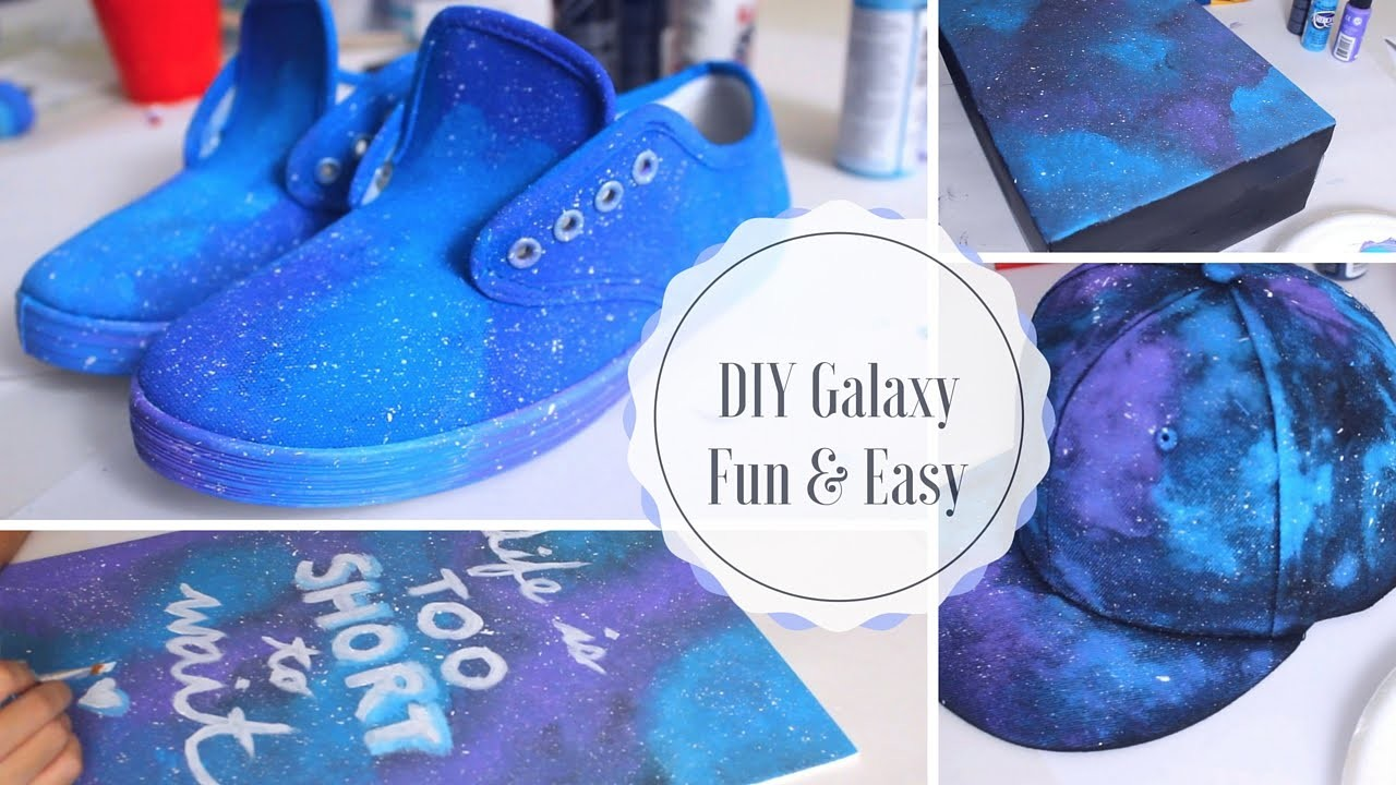 DIY Galaxy Projects You Have To Try! Easy & Fun - Galaxy Sneaker Shoes, Galaxy Hat, Wall Art & Box