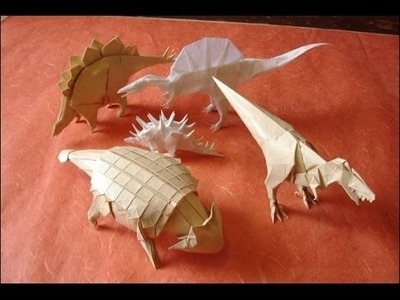 Origami. How to make origami dinosaur. Paper dinosaur