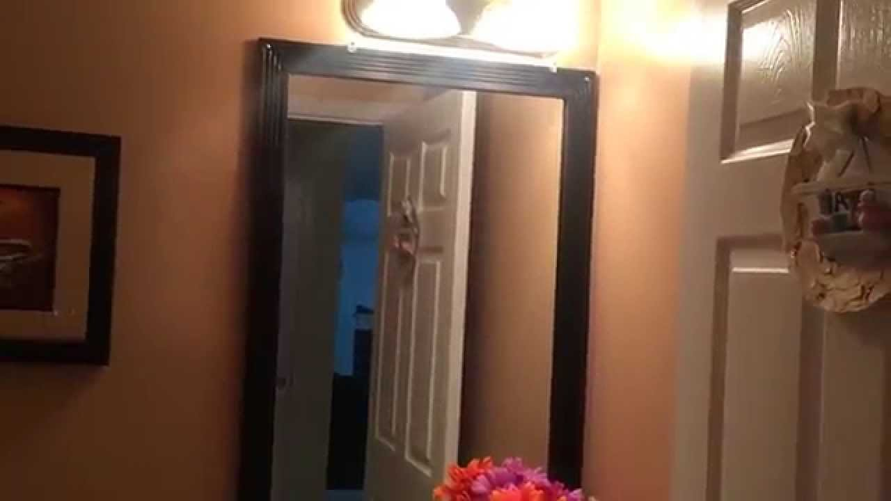 Powder room renovation, painting and DIY mirror frame