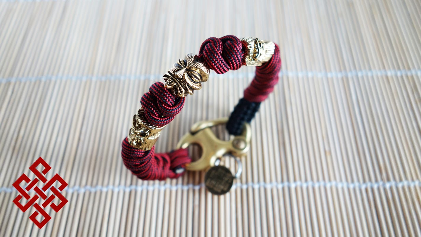 Snake Knot Paracord Bracelet with Beads and Shackle (Tiki Tribunal) Tutorial