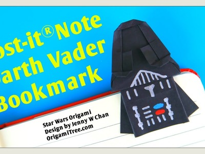 Star Wars Crafts - Star Wars Origami Darth Vader Bookmark Craft - Post- it® Note Paper Crafts