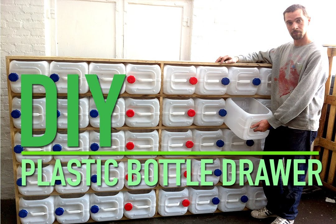 Upcycled plastic bottle drawer storage system