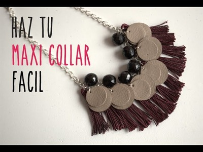 Cómo hacer un collar fácil en casa.How to make an easy maxi necklace at home (english subtitles)