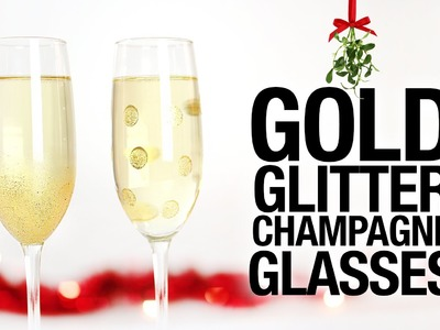 DIY Gold Glitter Champagne Glasses