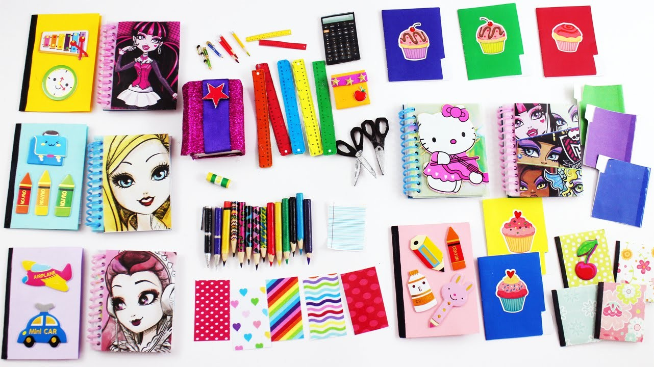 How to make AMERICAN GIRL and Barbie DOLL SCHOOL SUPPLIES  pencils calculator notebook scissors etc