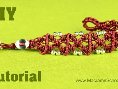 X Patterned Square Knot Bracelet with Beads and Button clasp